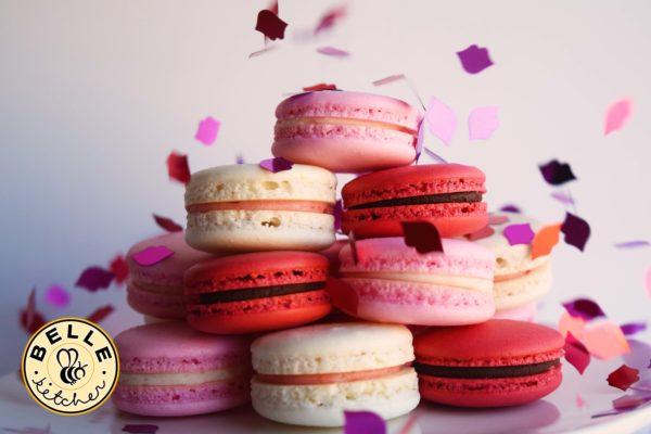 Valentines day macaron pink red white
